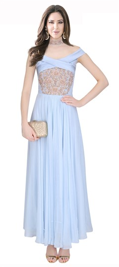 478505 Blue  color family gown in Crepe, Silk fabric with Machine Embroidery, Thread work .