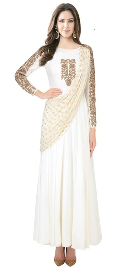478508 White and Off White  color family gown in Faux Georgette, Viscose fabric with Machine Embroidery, Thread work .