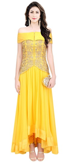478513 Yellow  color family gown in Crepe, Silk fabric with Machine Embroidery, Thread work .