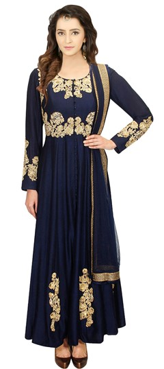478514 Blue  color family gown in Silk fabric with Machine Embroidery,Thread,Zari work .