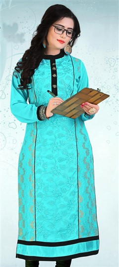 478592 Blue  color family Kurti in Jacquard, Net, Rayon fabric with Machine Embroidery, Thread work .