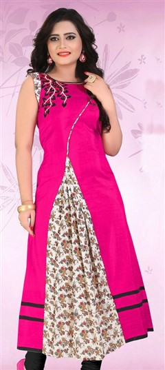 478600 Pink and Majenta  color family Long Kurtis in Banarasi, Rayon, Silk fabric with Printed work .