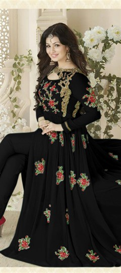 478703 Black and Grey  color family Bollywood Salwar Kameez in Faux Georgette fabric with Machine Embroidery,Stone,Thread work .