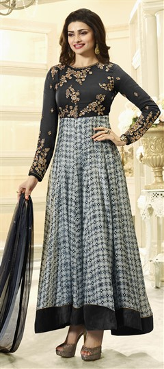 478776 Black and Grey  color family Bollywood Salwar Kameez in Faux Georgette fabric with Machine Embroidery,Printed,Sequence,Stone,Thread,Zari work .