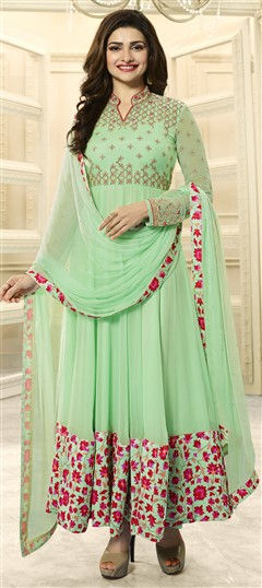 478777 Green  color family Bollywood Salwar Kameez in Faux Georgette fabric with Machine Embroidery,Resham,Stone,Thread,Zari work .