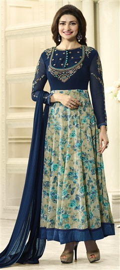 478778 Blue  color family Bollywood Salwar Kameez in Faux Georgette fabric with Machine Embroidery,Printed,Resham,Stone,Thread,Zari work .