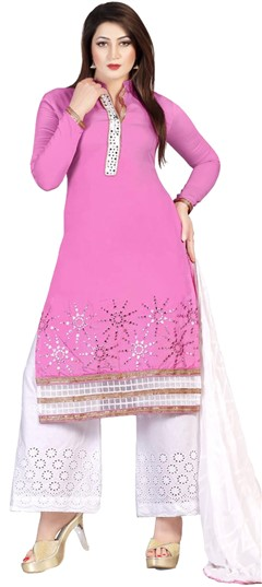 478844 Pink and Majenta  color family Party Wear Salwar Kameez in Cotton, Satin fabric with Lace, Machine Embroidery, Thread work .