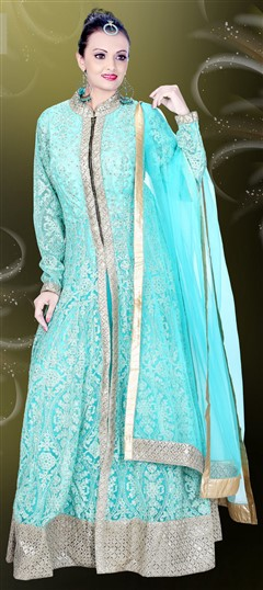 478861 Blue  color family gown in Net, Silk fabric with Machine Embroidery, Resham, Stone work .
