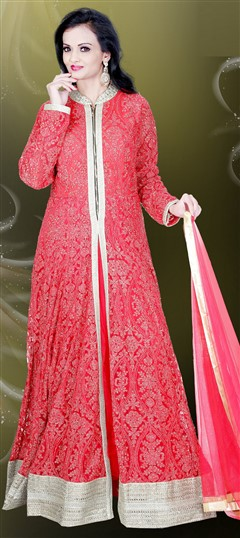 478868 Red and Maroon  color family gown in Net, Silk fabric with Machine Embroidery, Stone, Thread work .