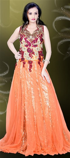 478869 Orange  color family gown in Net fabric with Bugle Beads,Machine Embroidery,Resham,Sequence,Stone,Thread work .