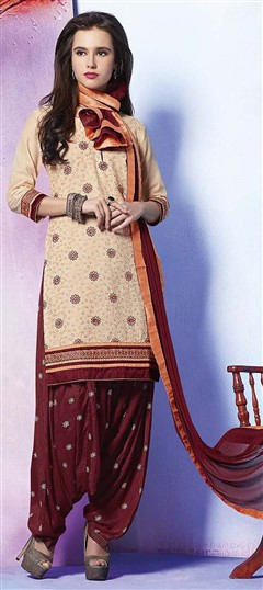 478911 Beige and Brown  color family Cotton Salwar Kameez in Cotton fabric with Lace, Machine Embroidery, Resham, Thread work .