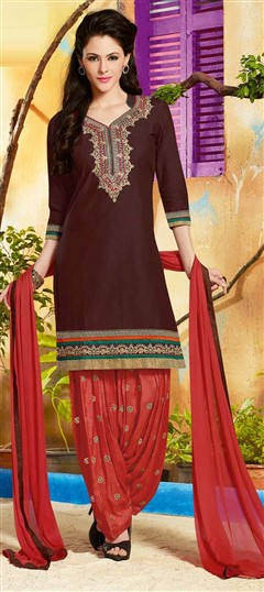 478914 Beige and Brown  color family Cotton Salwar Kameez in Cotton fabric with Lace, Machine Embroidery, Resham, Thread work .