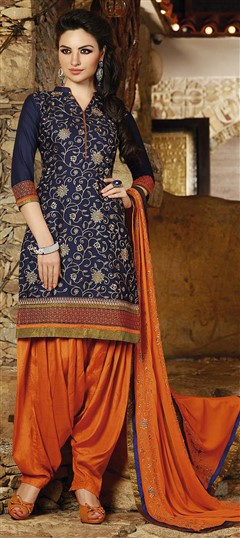 478932 Blue  color family Party Wear Salwar Kameez in Cotton fabric with Lace, Machine Embroidery, Resham, Thread work .