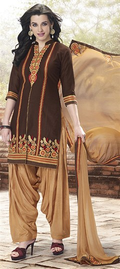 478940 Beige and Brown  color family Party Wear Salwar Kameez in Cotton fabric with Machine Embroidery, Resham, Thread, Zari work .