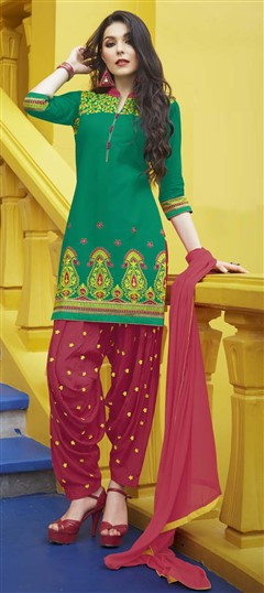 478950 Green  color family Party Wear Salwar Kameez in Cotton fabric with Machine Embroidery, Resham, Thread, Zari work .