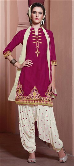 478951 Pink and Majenta  color family Party Wear Salwar Kameez in Cotton fabric with Machine Embroidery, Resham, Thread, Zari work .