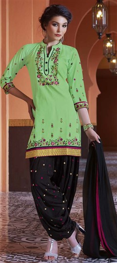 478952 Green  color family Party Wear Salwar Kameez in Cotton fabric with Machine Embroidery, Resham, Thread, Zari work .