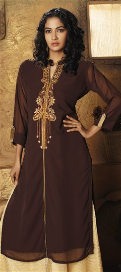 478956 Beige and Brown  color family Kurti in Faux Georgette fabric with Bugle Beads, Cut Dana work .