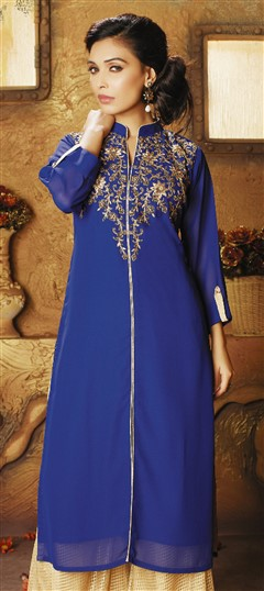 478957 Blue  color family Kurti in Faux Georgette fabric with Bugle Beads, Cut Dana work .