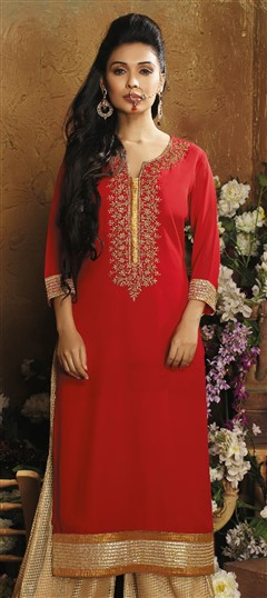 478959 Red and Maroon  color family Kurti in Faux Georgette fabric with Bugle Beads,Cut Dana work .