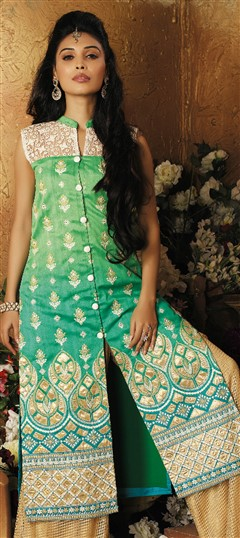 478960 Green  color family Kurti in Art Silk fabric with Machine Embroidery, Patch, Thread work .