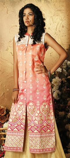 478961 Pink and Majenta  color family Kurti in Art Silk fabric with Machine Embroidery, Patch, Thread work .