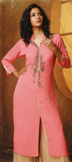 478964 Pink and Majenta  color family Kurti in Faux Georgette fabric with Bugle Beads, Cut Dana work .