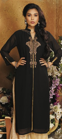478965 Black and Grey  color family Kurti in Faux Georgette fabric with Bugle Beads, Cut Dana work .