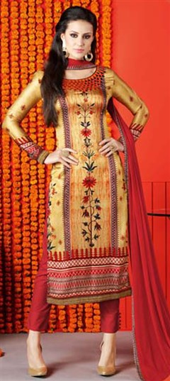 479012 Gold  color family Printed Salwar Kameez in Satin fabric with Printed work .