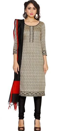 479280 Black and Grey  color family Cotton Salwar Kameez, Printed Salwar Kameez in Cotton fabric with Printed work .