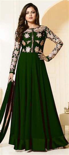 479580 Green  color family Bollywood Salwar Kameez in Faux Georgette fabric with Machine Embroidery,Thread work .
