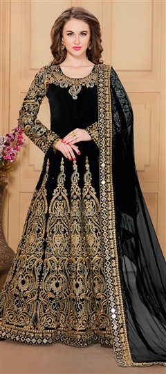480661 Black and Grey  color family Anarkali Suits in Silk fabric with Machine Embroidery, Mirror, Thread, Zari work .