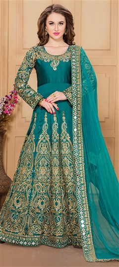 480662 Green  color family Anarkali Suits in Silk fabric with Machine Embroidery,Mirror,Thread,Zari work .