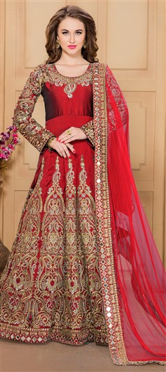 480664 Red and Maroon  color family Anarkali Suits in Silk fabric with Machine Embroidery,Mirror,Thread,Zari work .