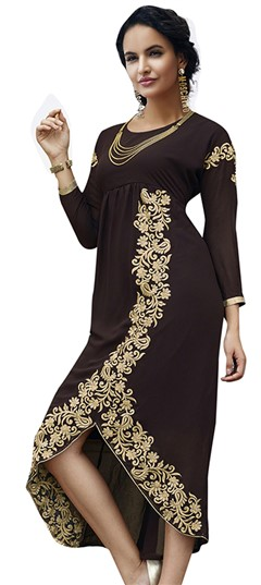 480868 Beige and Brown  color family Kurti in Georgette fabric with Thread work .