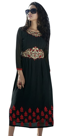 480870 Black and Grey  color family Kurti in Georgette fabric with Patch, Thread work .