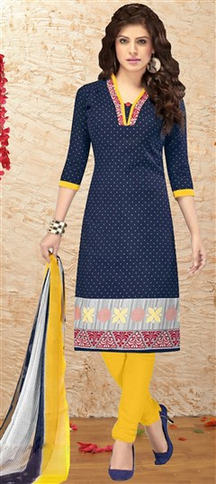 480954 Blue  color family Cotton Salwar Kameez, Printed Salwar Kameez in Cotton fabric with Printed work .