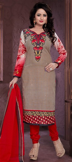 480955 Black and Grey  color family Cotton Salwar Kameez, Printed Salwar Kameez in Cotton fabric with Printed work .