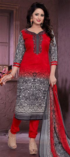 480956 Red and Maroon  color family Cotton Salwar Kameez, Printed Salwar Kameez in Cotton fabric with Printed work .