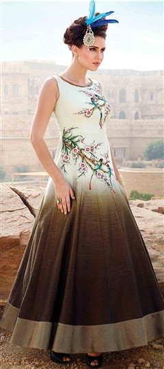 481063 Beige and Brown  color family gown in Bhagalpuri fabric with Printed,Zari work .