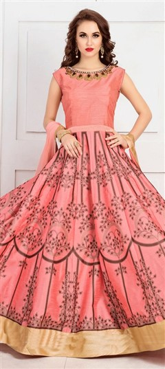 481064 Pink and Majenta  color family gown in Bhagalpuri fabric with Machine Embroidery,Printed work .
