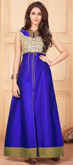 481120 Blue  color family Kurti in Silk fabric with Lace, Machine Embroidery, Thread work .