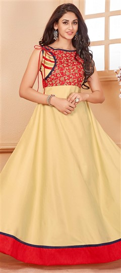 481122 Pink and Majenta  color family Anarkali style Kurtis in Silk fabric with Lace work .