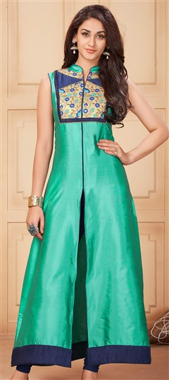 481123 Green  color family Kurti in Silk fabric with Lace work .