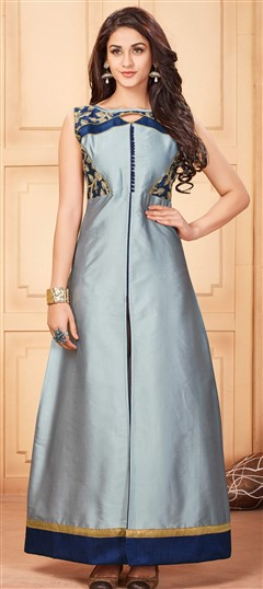 481125 Black and Grey  color family Kurti in Silk fabric with Lace work .