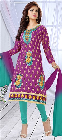 481432 Purple and Violet  color family Cotton Salwar Kameez, Party Wear Salwar Kameez in Cotton fabric with Machine Embroidery, Resham, Thread work .
