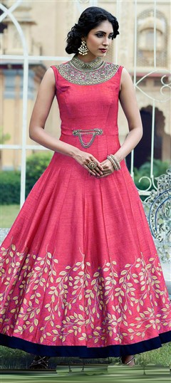 483488 Pink and Majenta  color family Anarkali Suits in Jacquard fabric with Printed work .