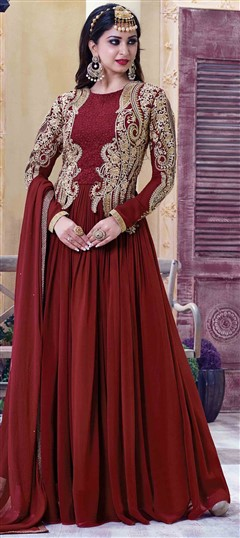483981 Red and Maroon  color family Party Wear Salwar Kameez in Faux Georgette fabric with Machine Embroidery,Resham,Thread,Zari work .