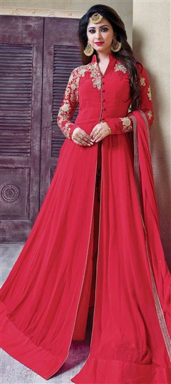 483984 Pink and Majenta  color family Party Wear Salwar Kameez in Faux Georgette fabric with Machine Embroidery,Resham,Thread,Zari work .