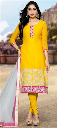 488993 Yellow  color family Bollywood Salwar Kameez in Georgette fabric with Lace, Machine Embroidery, Thread work .